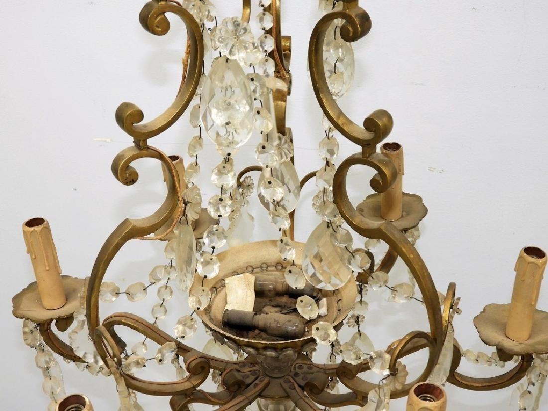 Antique French Bronze Cut Crystal Chandelier - 5