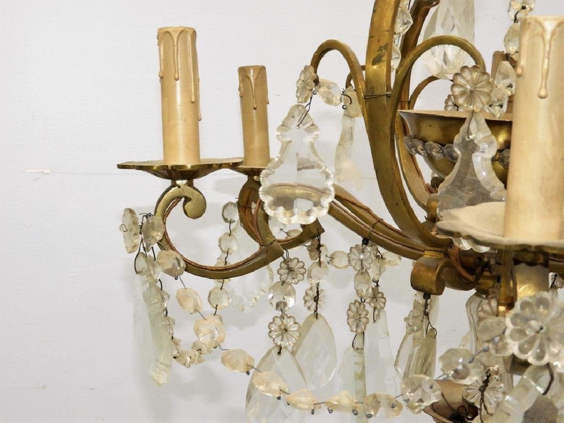 Antique French Bronze Cut Crystal Chandelier - 6
