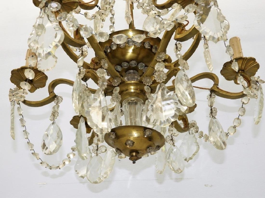 Antique French Bronze Cut Crystal Chandelier - 7