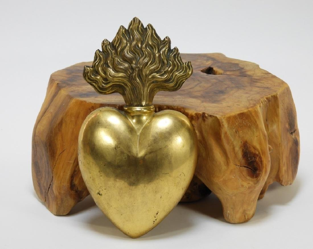 French Gilt Brass Sacred Heart Reliquary