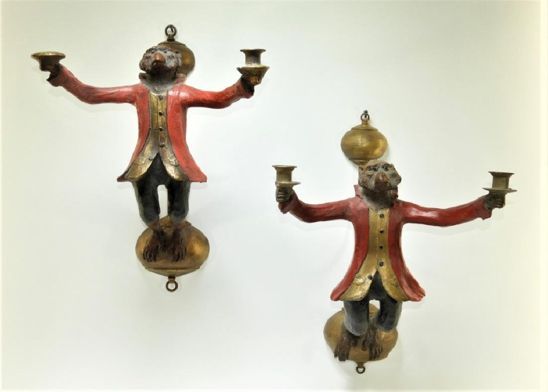 PR Whimsical Carved Wood Monkey Wall Sconces