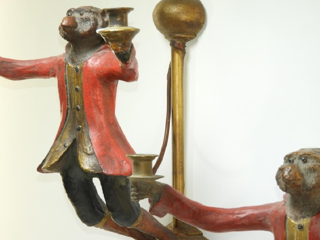 PR Whimsical Carved Wood Monkey Wall Sconces - 4