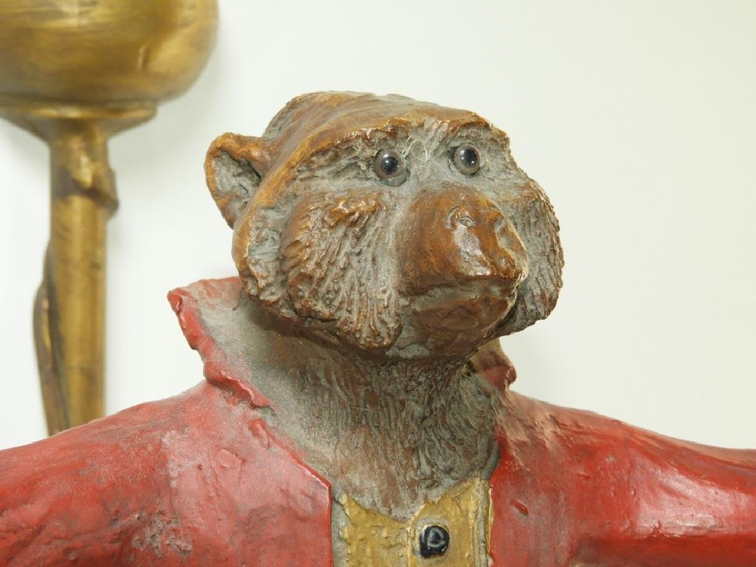 PR Whimsical Carved Wood Monkey Wall Sconces - 5