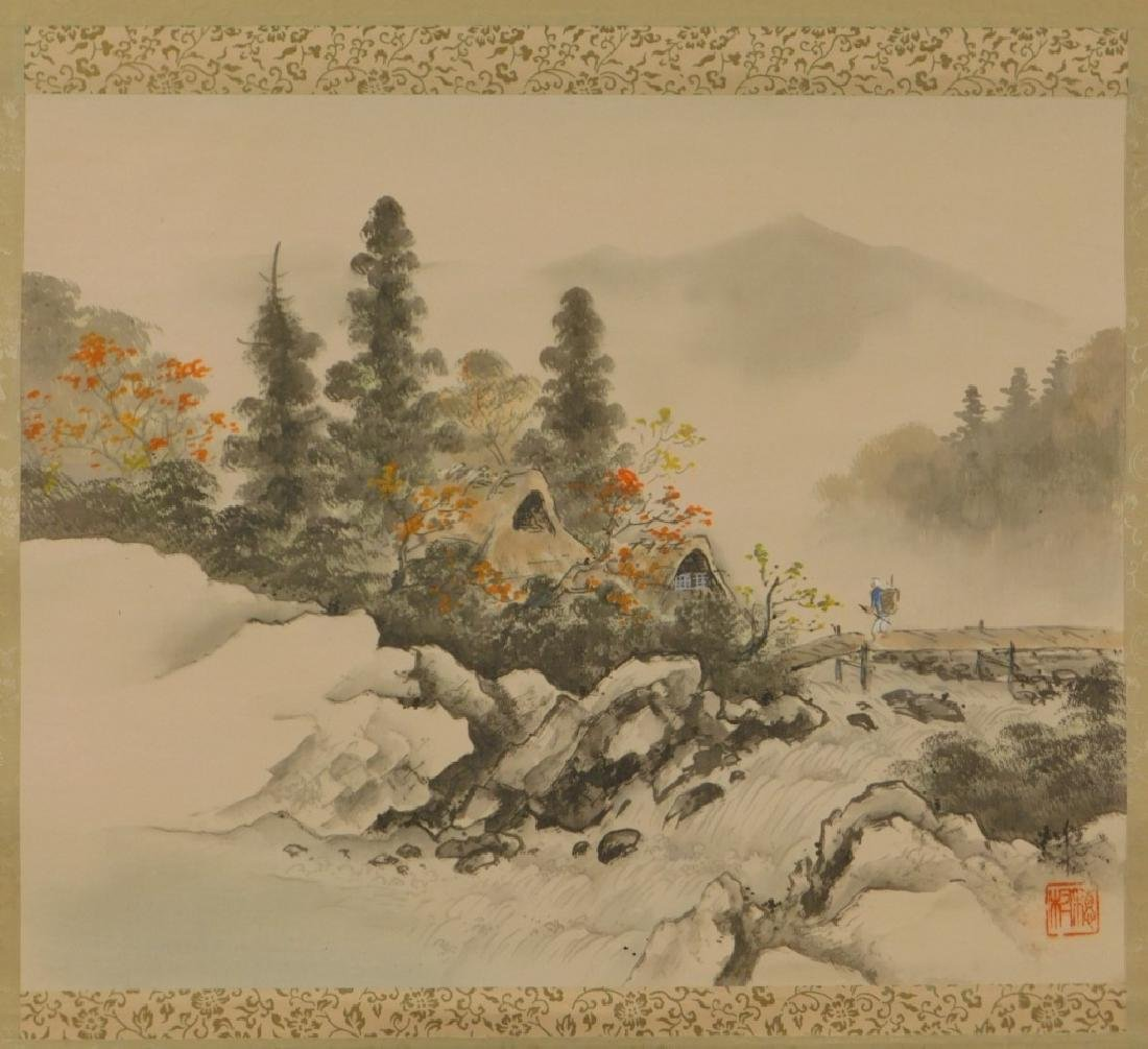 19C. Chinese Bridge Landscape Scroll Painting