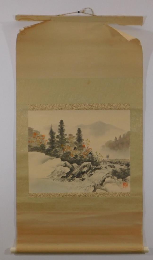 19C. Chinese Bridge Landscape Scroll Painting - 2