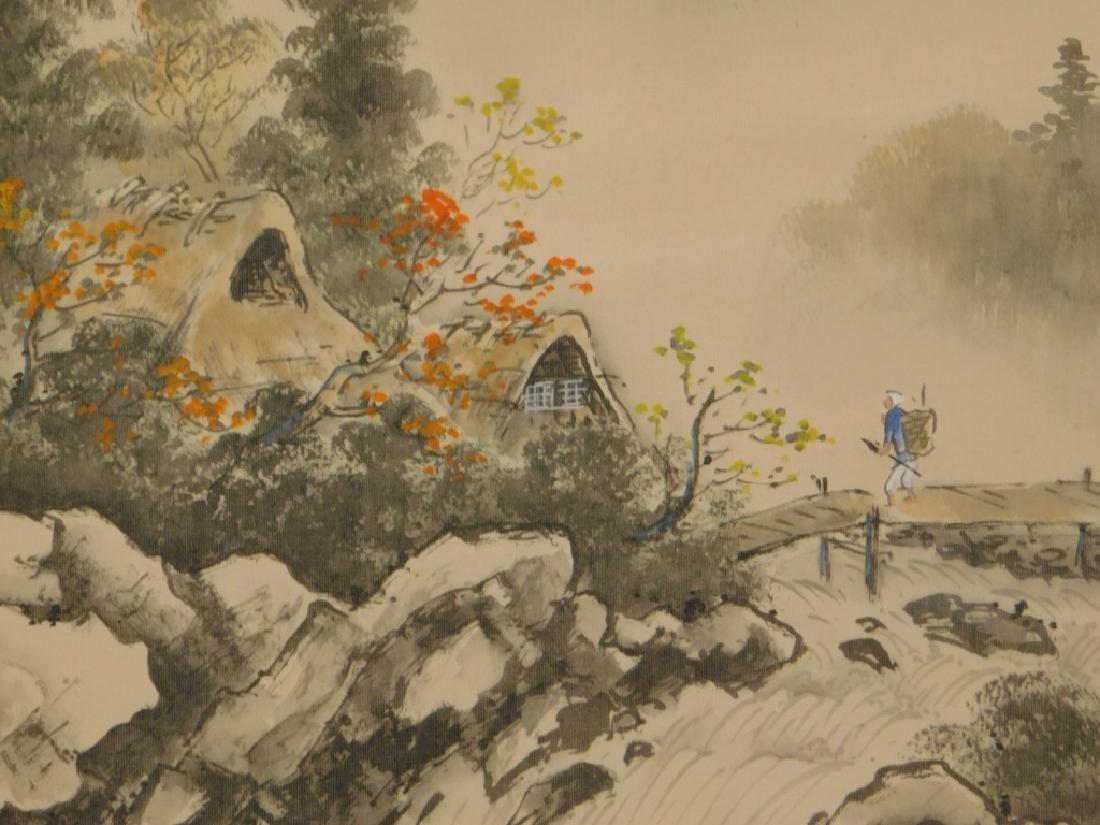 19C. Chinese Bridge Landscape Scroll Painting - 3