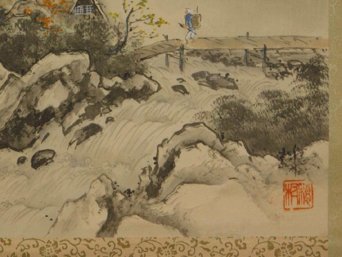19C. Chinese Bridge Landscape Scroll Painting - 4