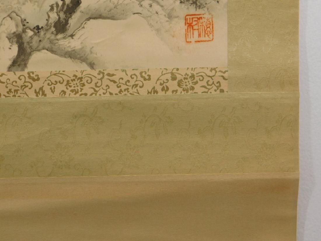 19C. Chinese Bridge Landscape Scroll Painting - 9