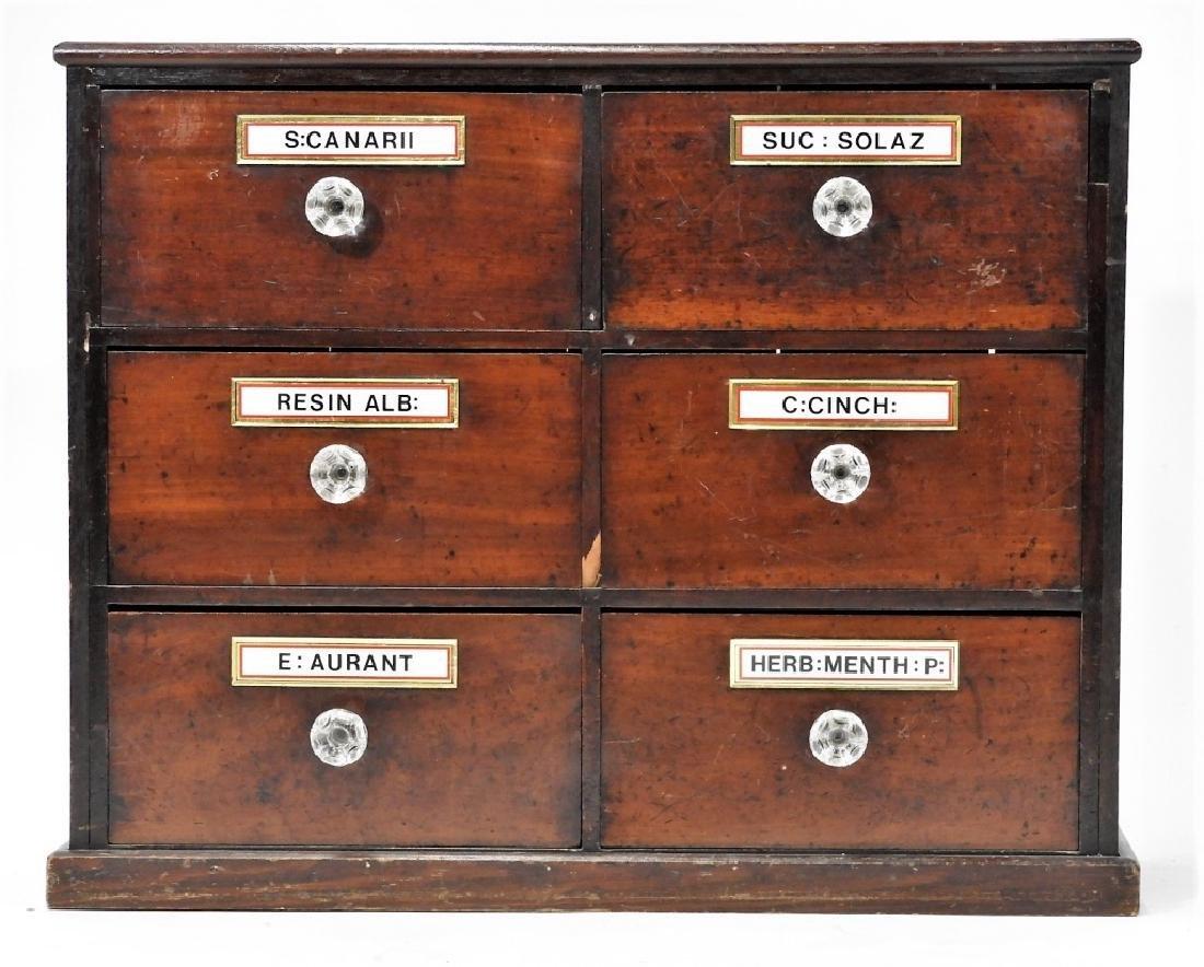 19C. Mahogany 6 Draw Apothecary Cabinet