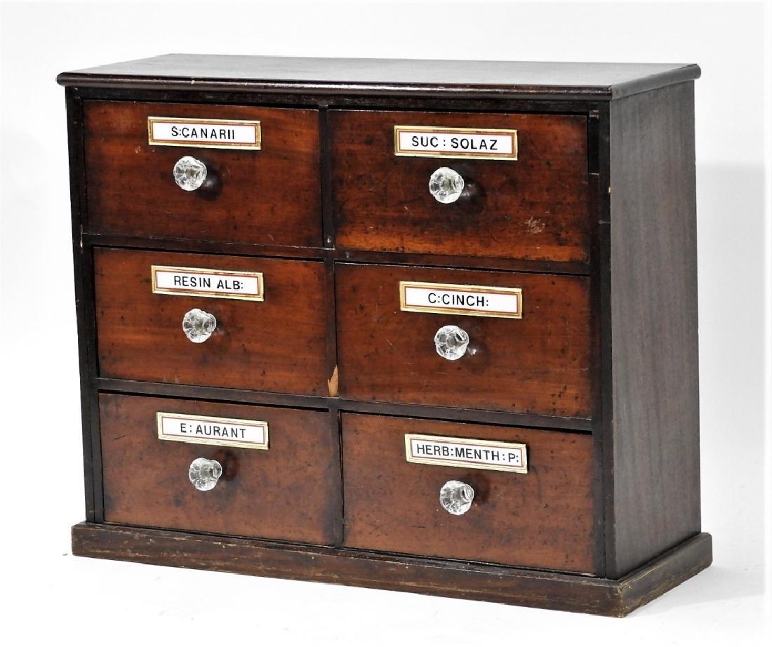 19C. Mahogany 6 Draw Apothecary Cabinet - 2