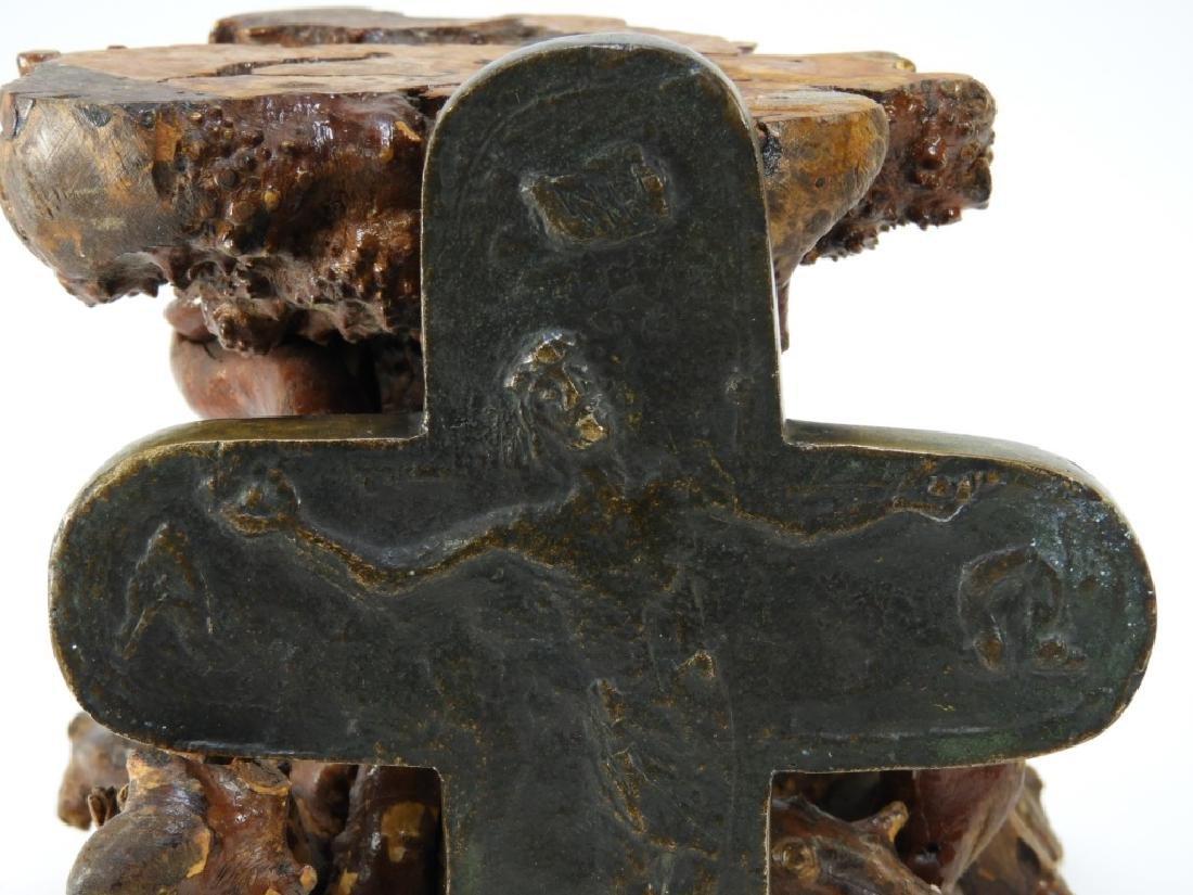 European Brutalist Expressionist Bronze Crucifix - 2
