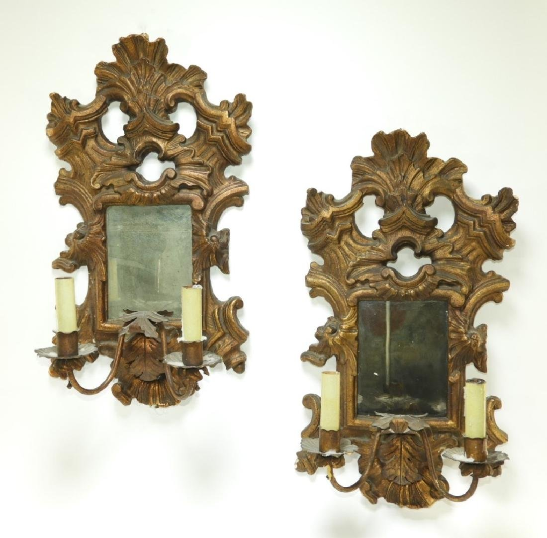 PR Gilt Gesso Tole Mirrored Acanthus Leaf Sconces