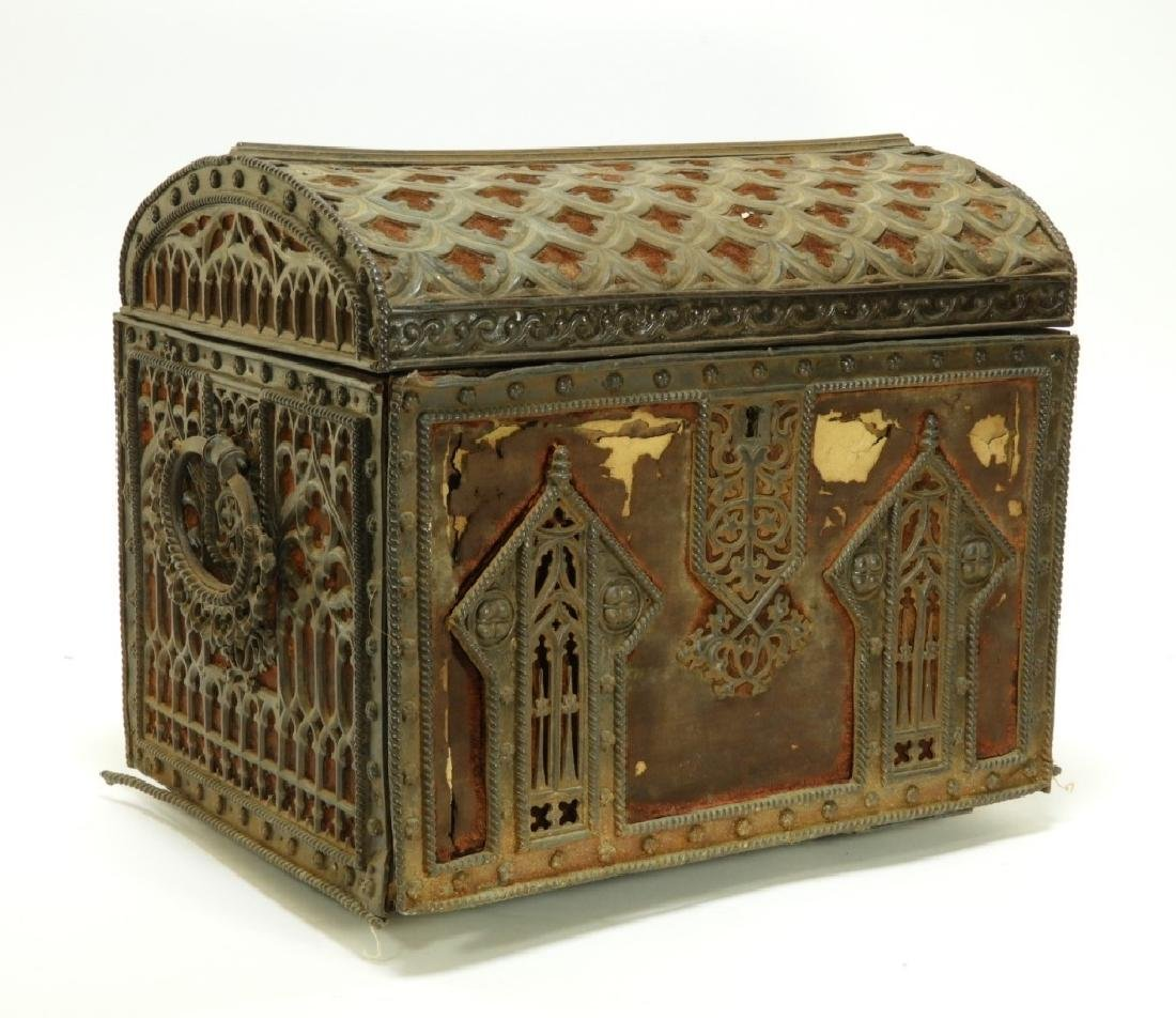 19C Victorian Gothic Revival Carved Wood Box