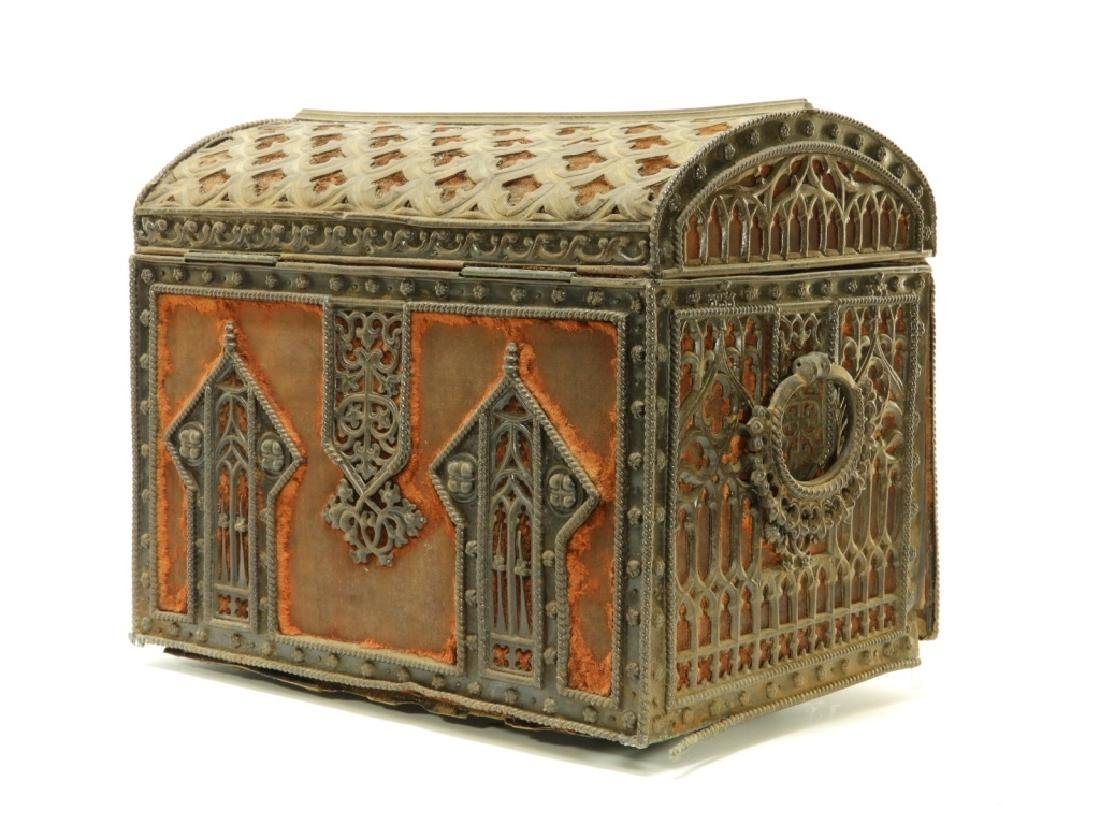 19C Victorian Gothic Revival Carved Wood Box - 6