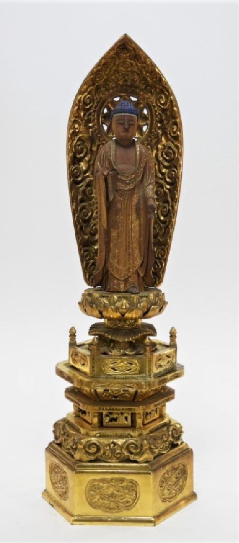Japanese Gilt Wood Standing Bodhisattva Buddha