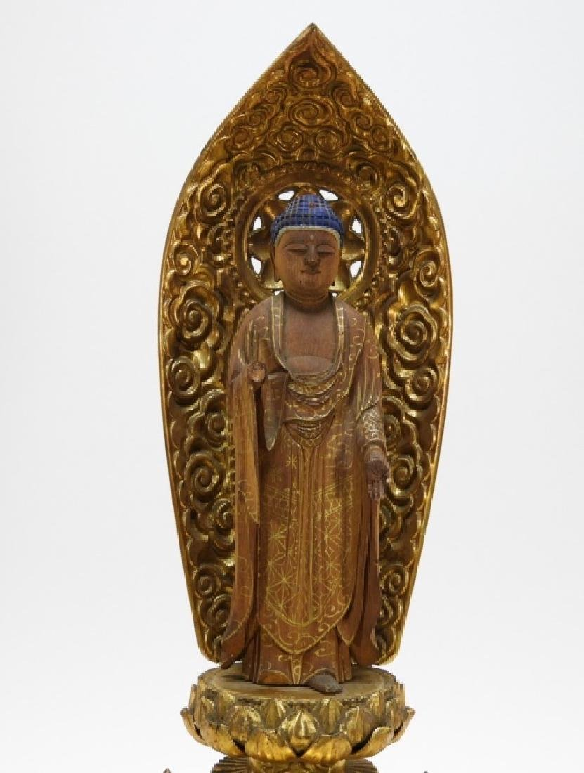 Japanese Gilt Wood Standing Bodhisattva Buddha - 2