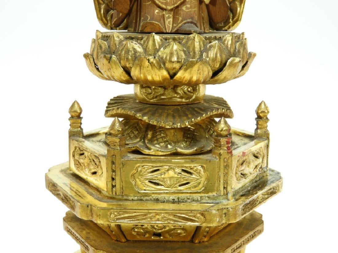 Japanese Gilt Wood Standing Bodhisattva Buddha - 3