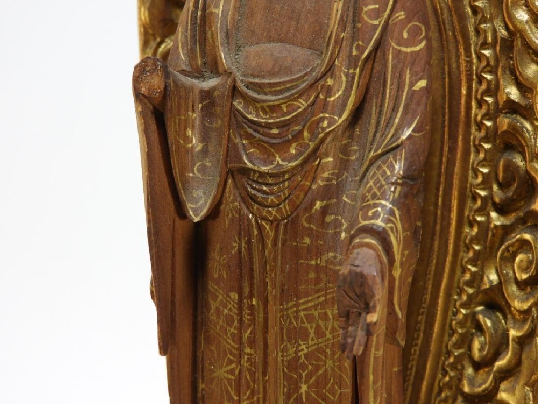 Japanese Gilt Wood Standing Bodhisattva Buddha - 6