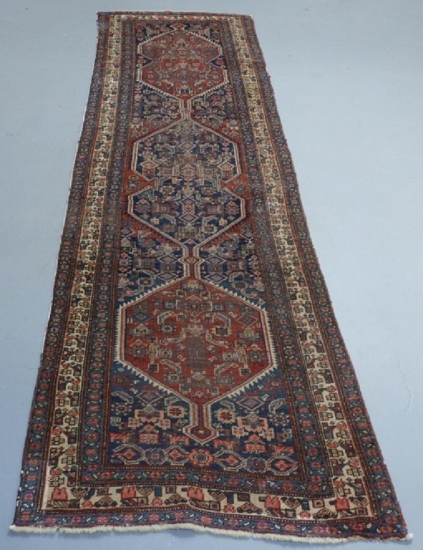 Antique Persian Heriz Wool Carpet Rug Runner