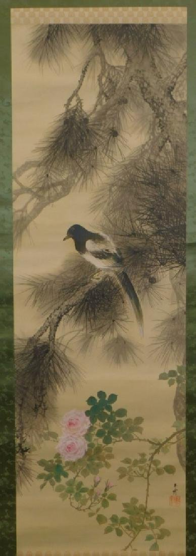 Chinese Silk Bird Evergreen Tree Scroll Painting