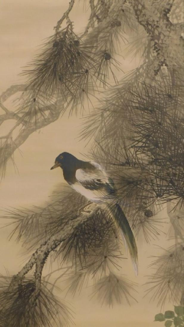 Chinese Silk Bird Evergreen Tree Scroll Painting - 3
