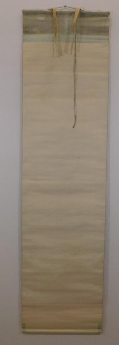 Chinese Silk Bird Evergreen Tree Scroll Painting - 6