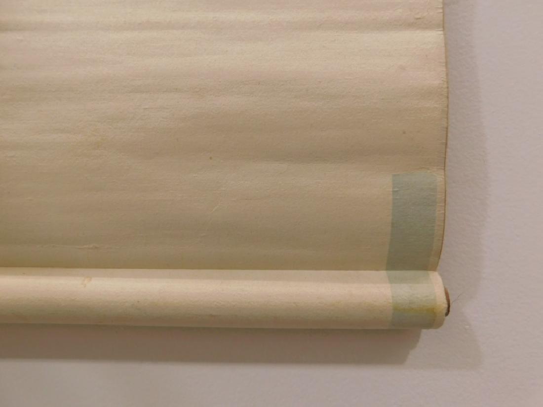 Chinese Silk Bird Evergreen Tree Scroll Painting - 9