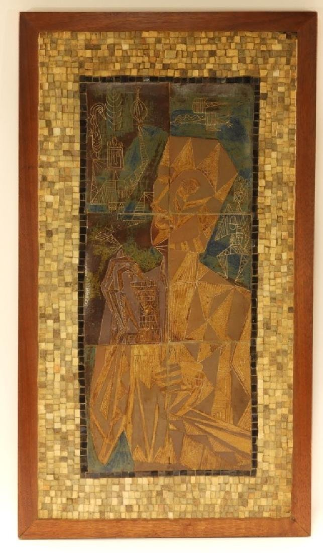 European MCM Cubist Earthenware Tile Mosaic Plaque