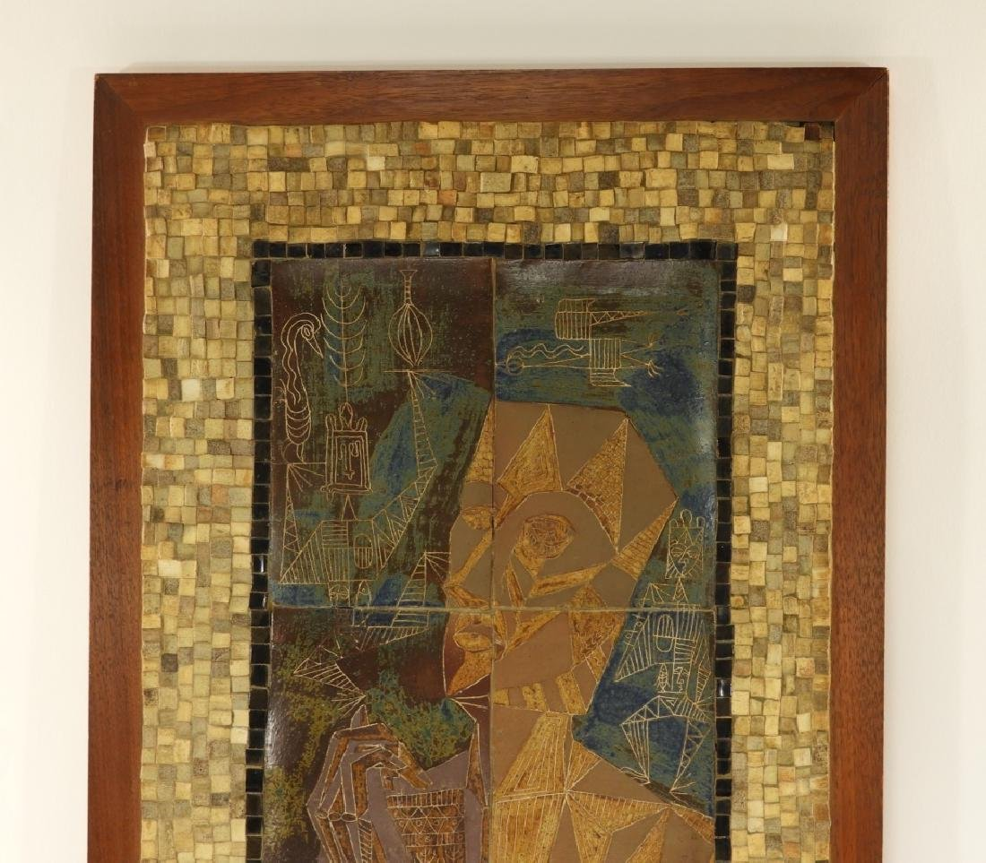 European MCM Cubist Earthenware Tile Mosaic Plaque - 2