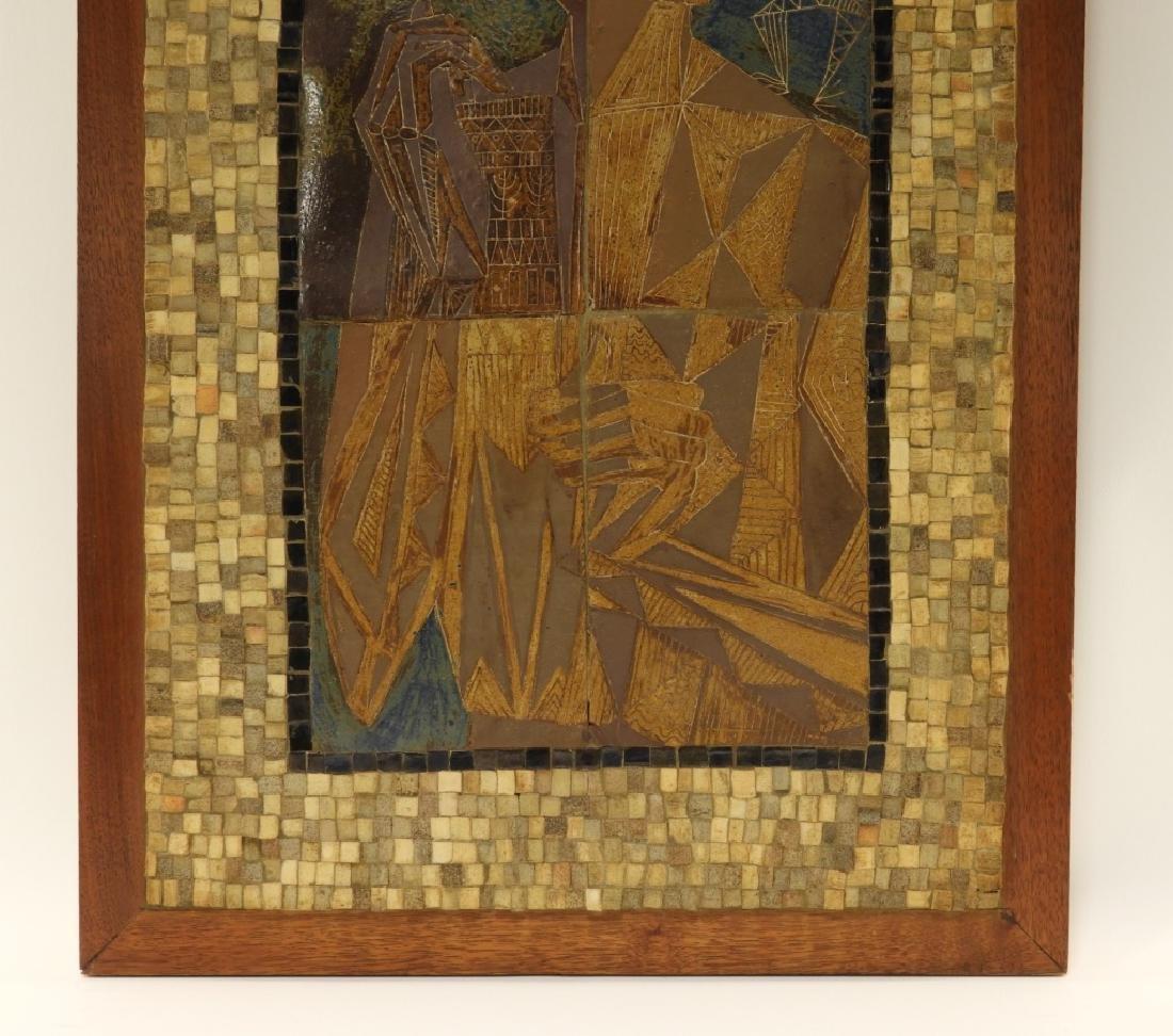 European MCM Cubist Earthenware Tile Mosaic Plaque - 3