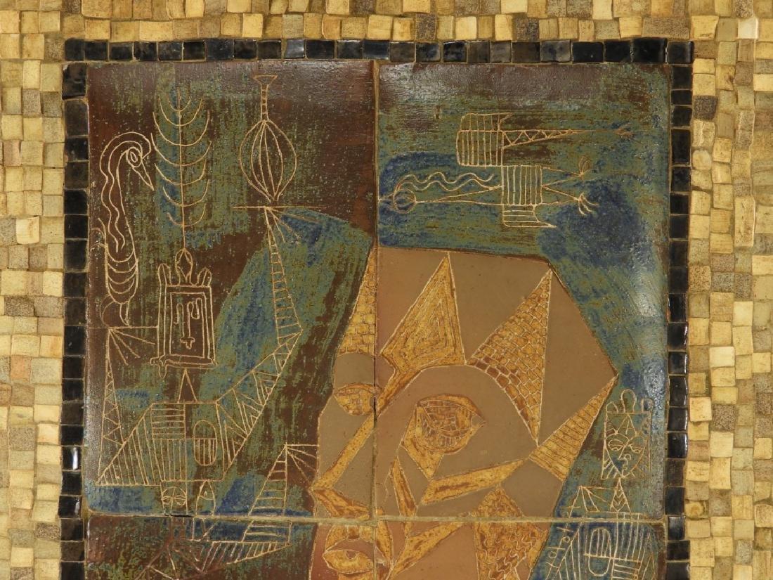 European MCM Cubist Earthenware Tile Mosaic Plaque - 4