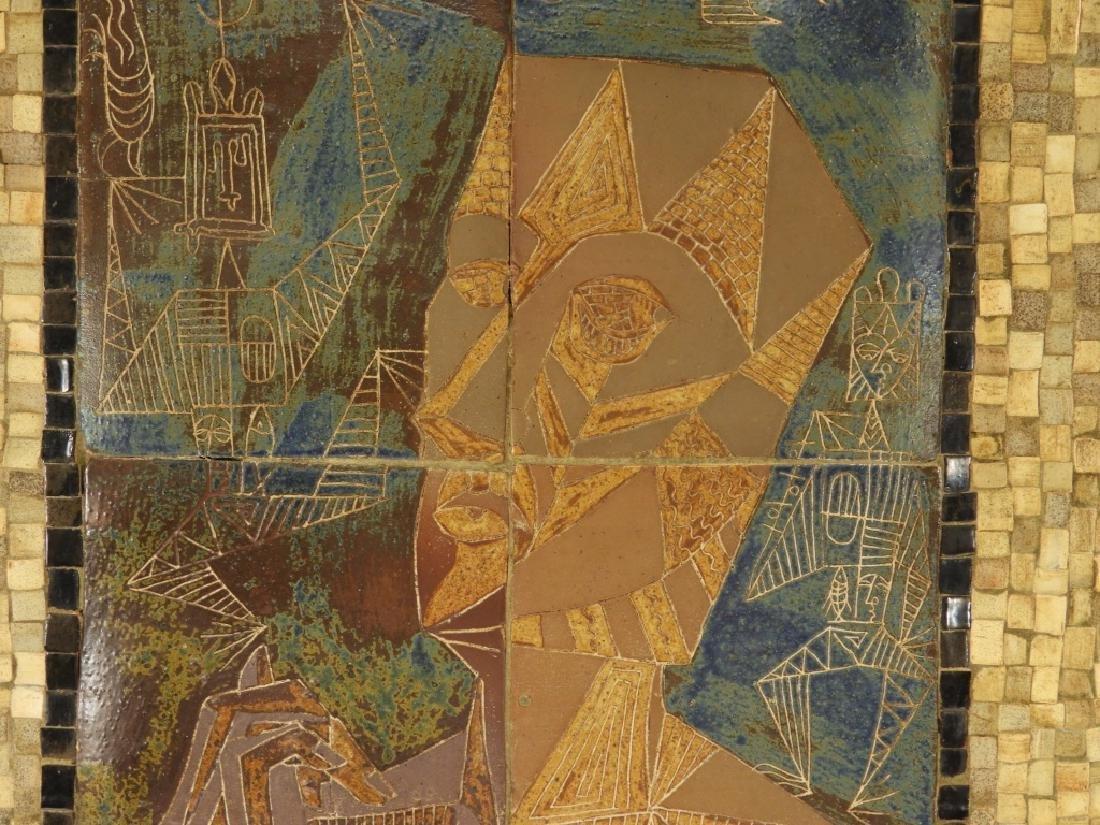 European MCM Cubist Earthenware Tile Mosaic Plaque - 5