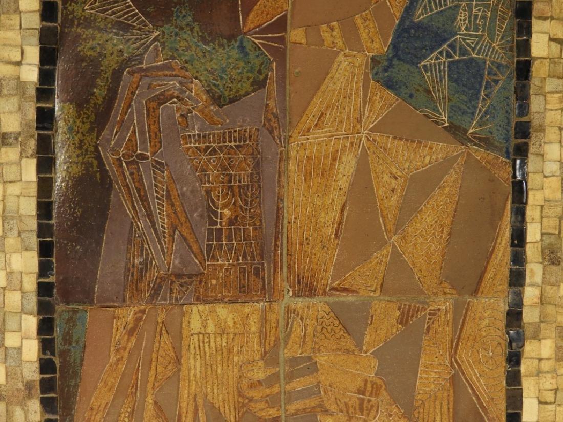 European MCM Cubist Earthenware Tile Mosaic Plaque - 6