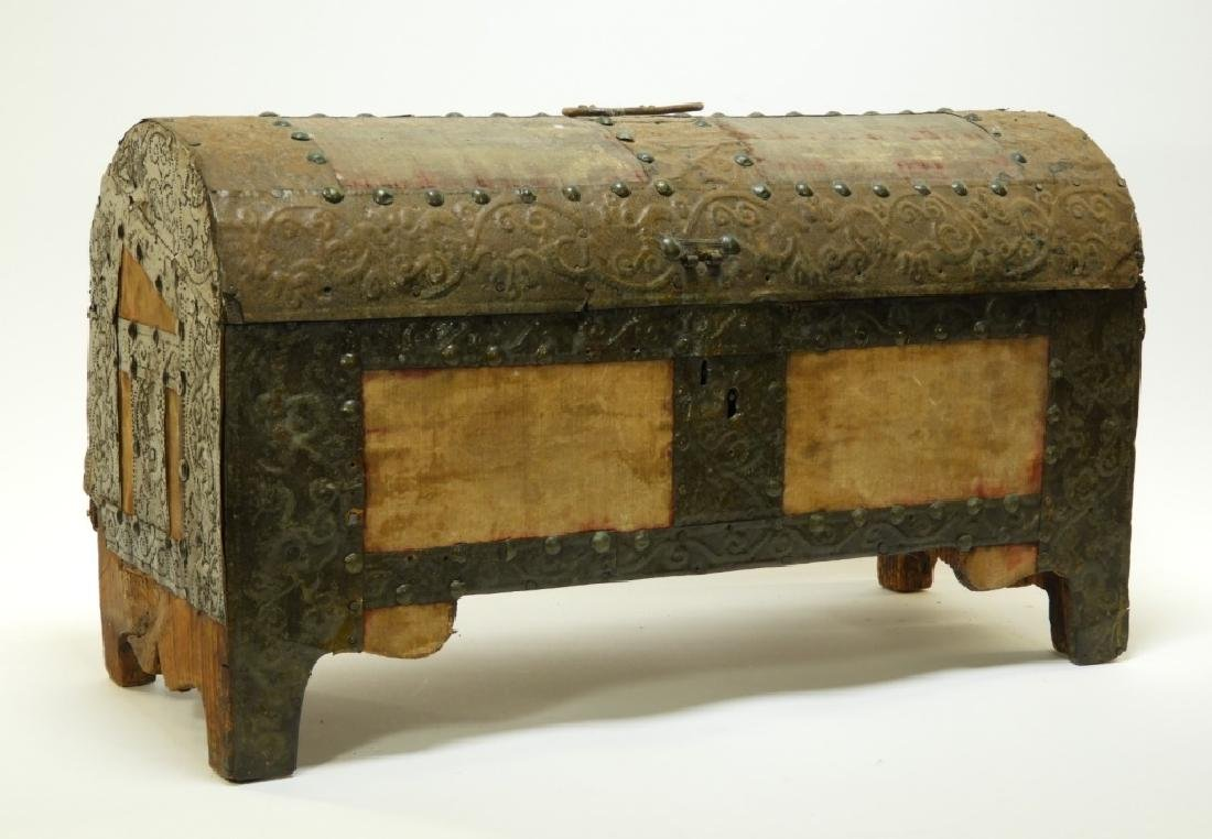 17C. Spanish Colonial Tin Dome Top Casket