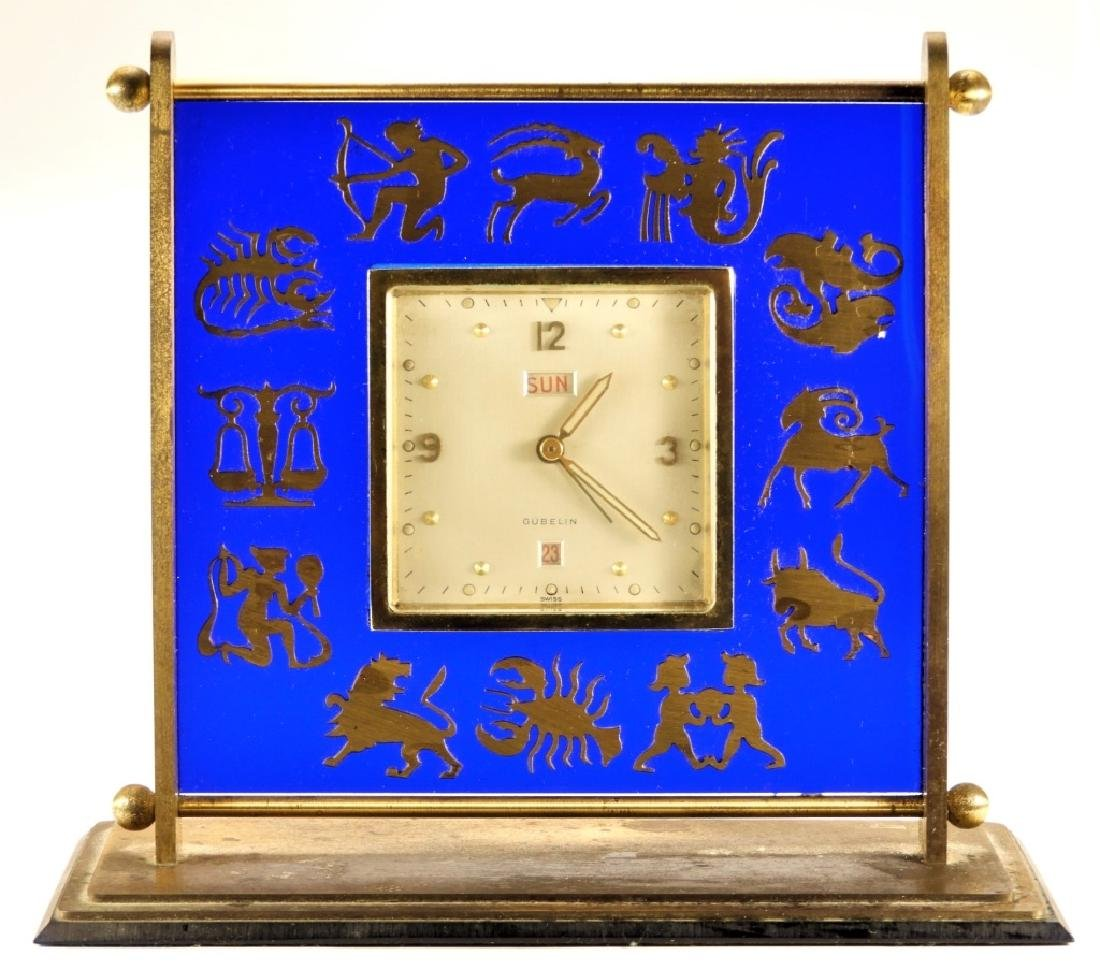 Gubelin Swiss 8 Day Zodiac Cobalt Desk Clock