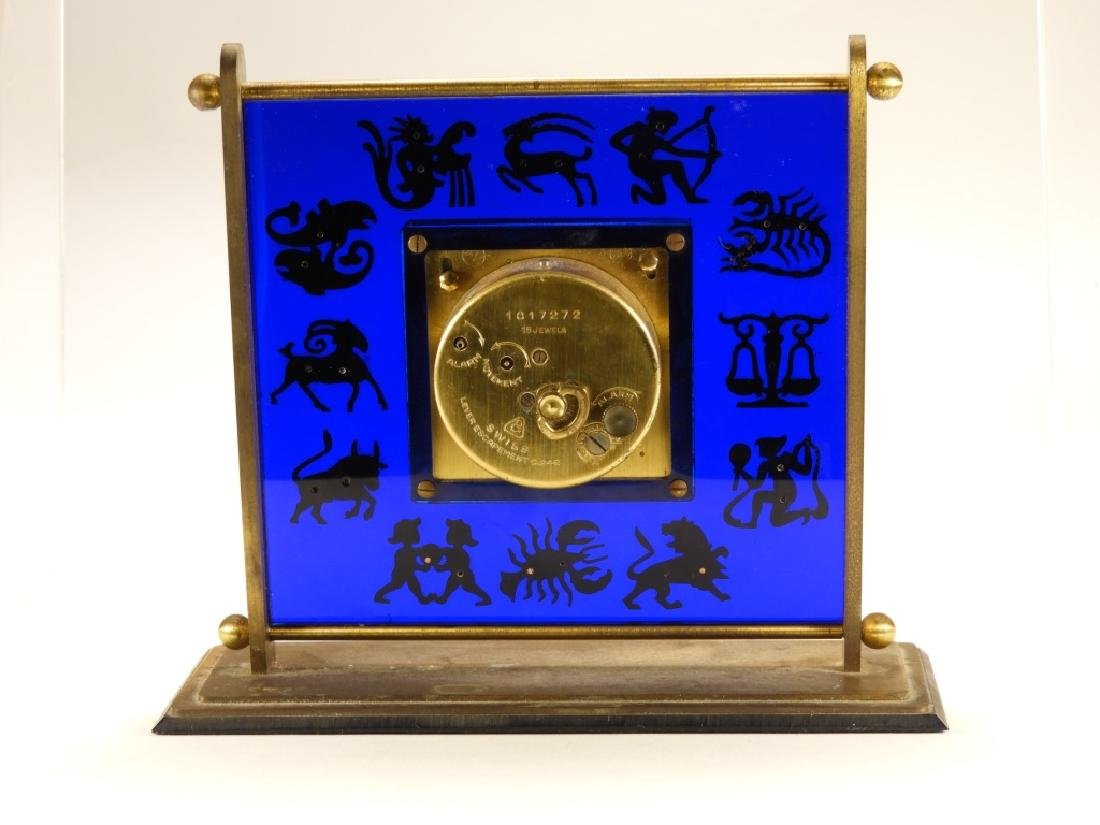 Gubelin Swiss 8 Day Zodiac Cobalt Desk Clock - 5