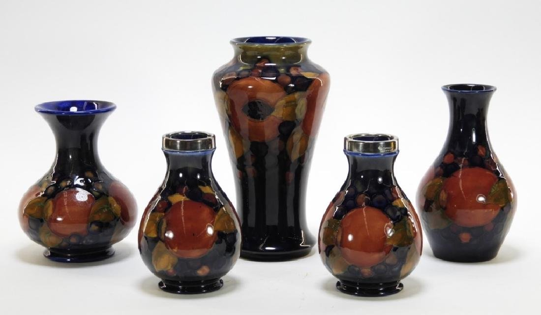 5 Moorcroft Pottery Pomegranate Pattern Vases