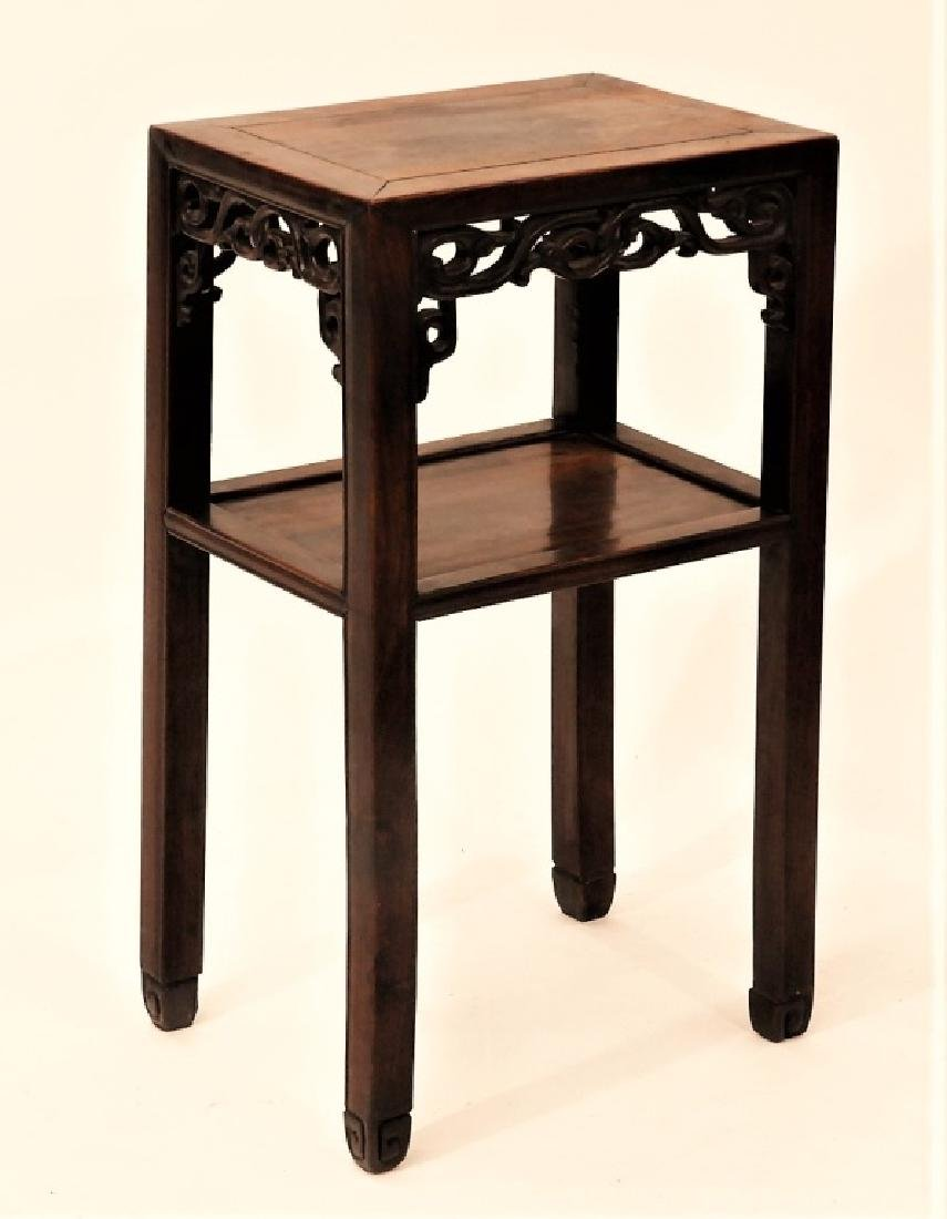 FINE Chinese Carved Hardwood Pedestal Table