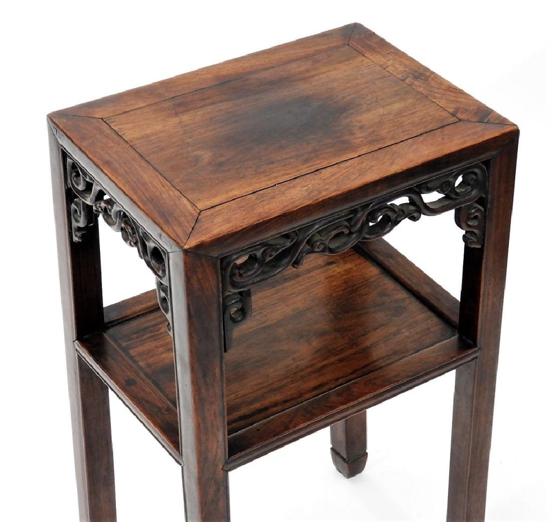 FINE Chinese Carved Hardwood Pedestal Table - 2