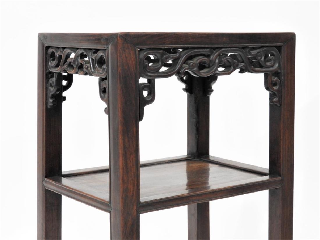 FINE Chinese Carved Hardwood Pedestal Table - 3
