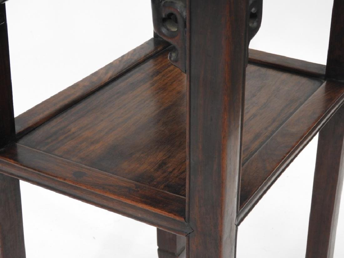 FINE Chinese Carved Hardwood Pedestal Table - 5