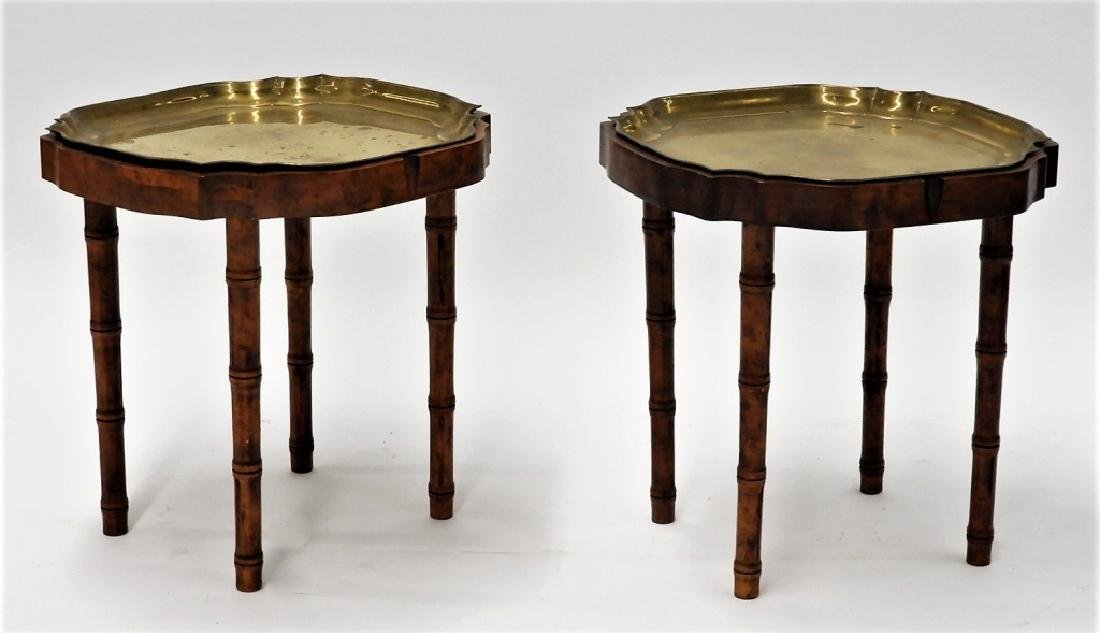 PR Faux Bamboo Inlaid Brass Tray Side Tables