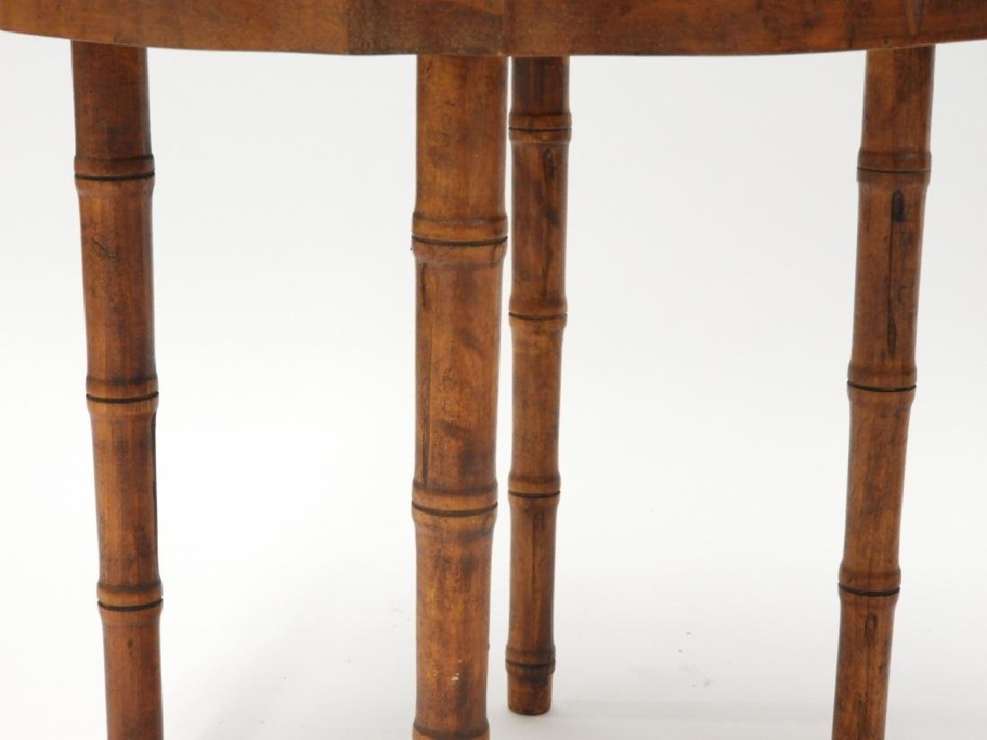 PR Faux Bamboo Inlaid Brass Tray Side Tables - 3