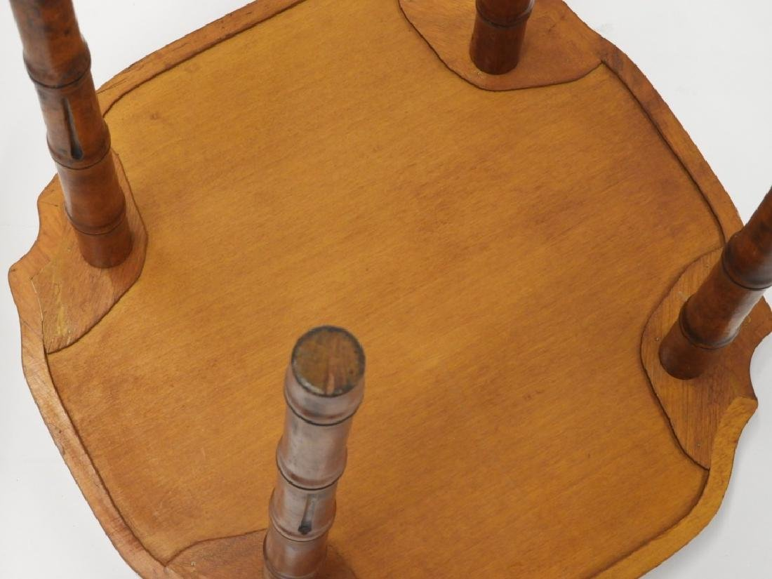 PR Faux Bamboo Inlaid Brass Tray Side Tables - 5