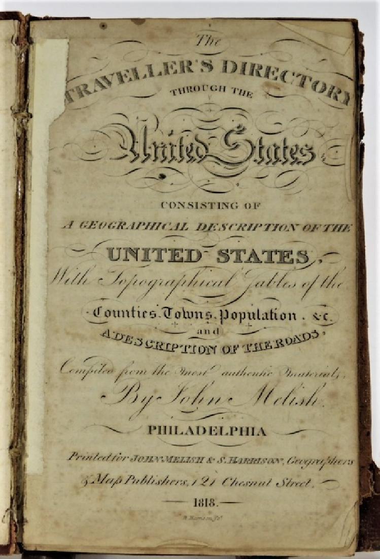 C.1818 John Melish Travelers Directory Map Book
