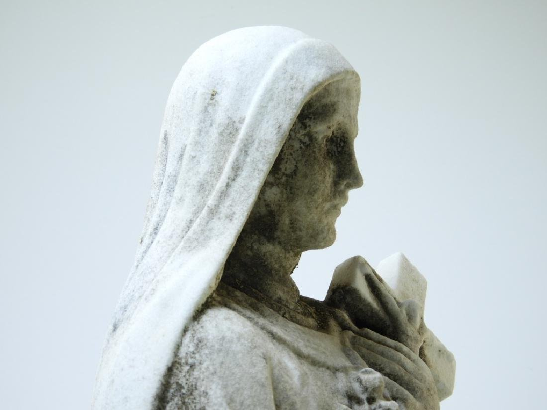 19C. Italian Carved White Marble Mary Sculpture - 6