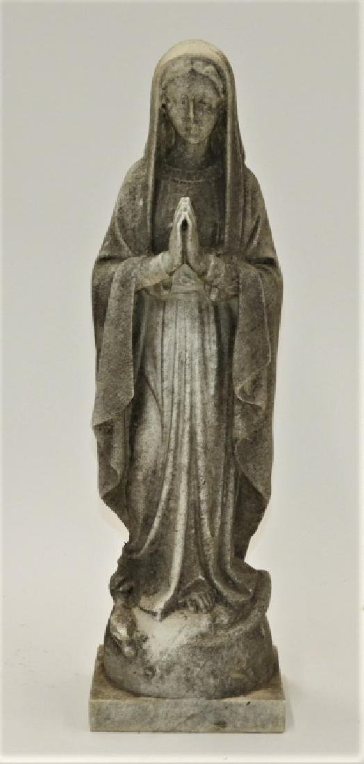 19C. Italian Carved White Marble Icon Mary Figure