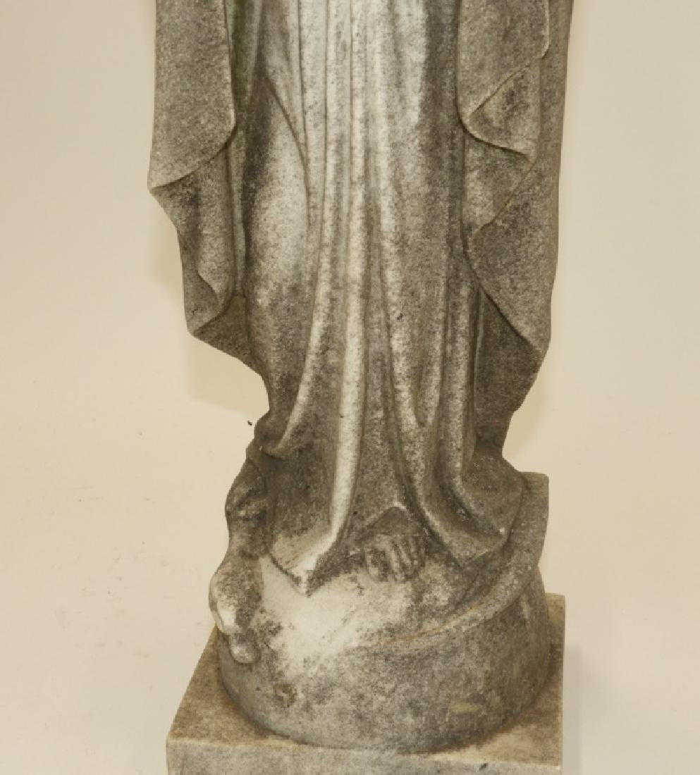 19C. Italian Carved White Marble Icon Mary Figure - 3