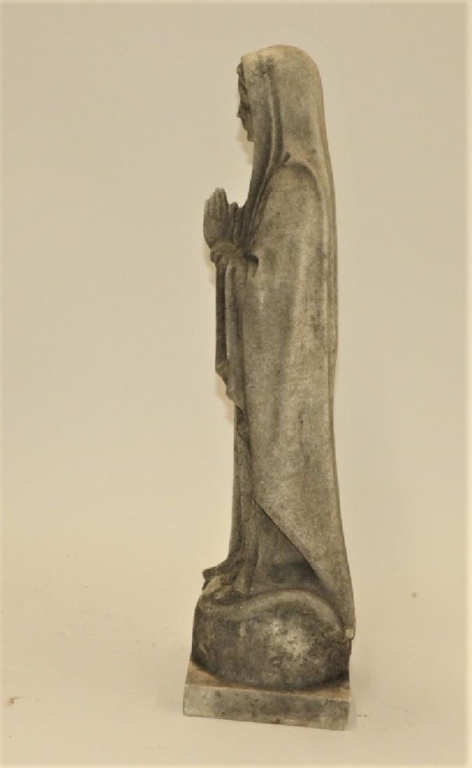 19C. Italian Carved White Marble Icon Mary Figure - 4