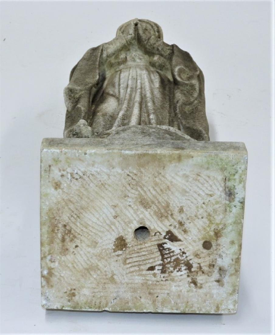 19C. Italian Carved White Marble Icon Mary Figure - 7